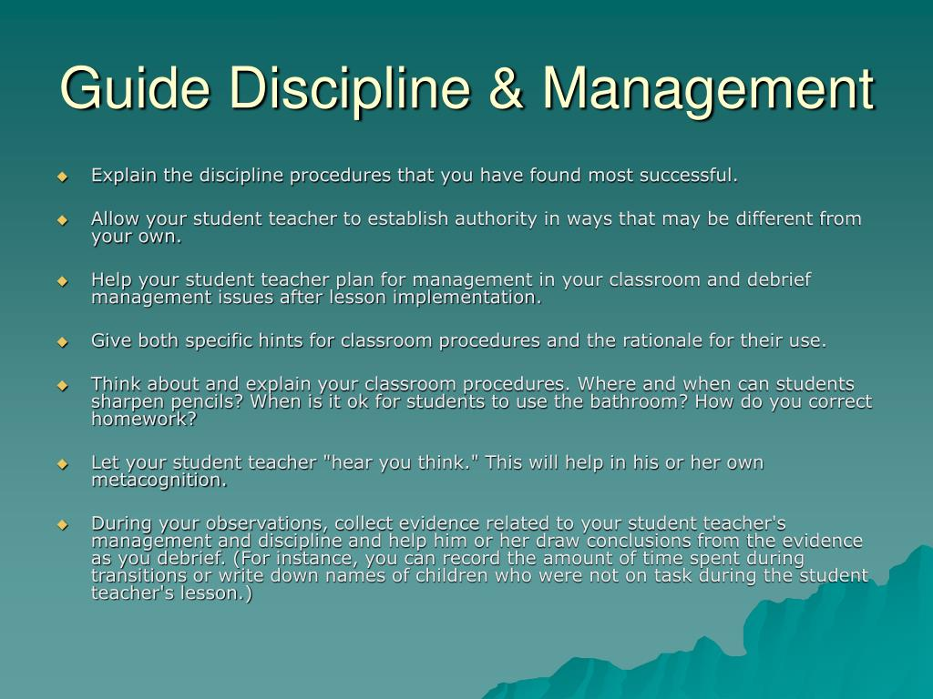 Guide Discipline & Management