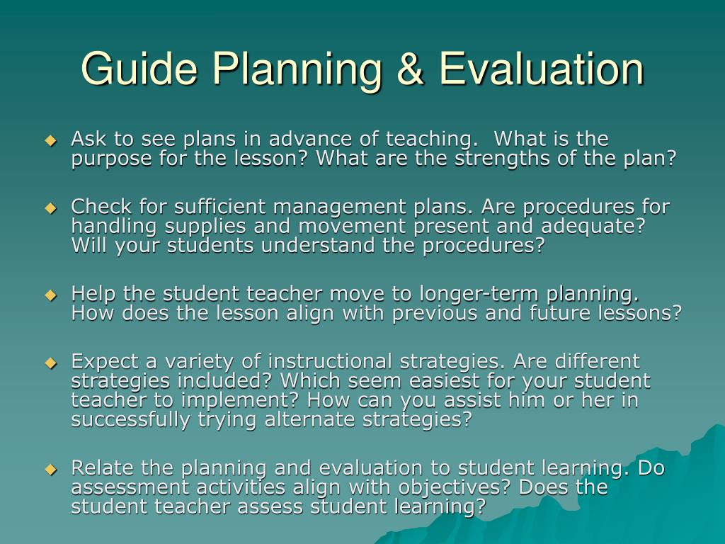 Guide Planning & Evaluation