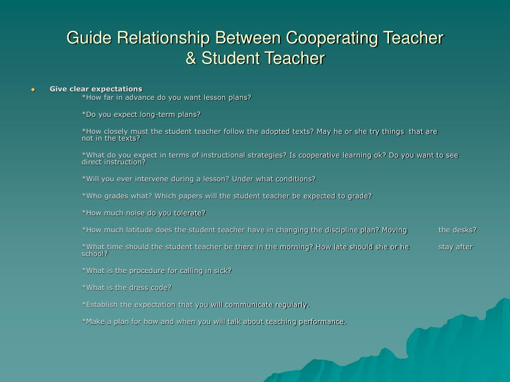Guide Relationship Between Cooperating Teacher