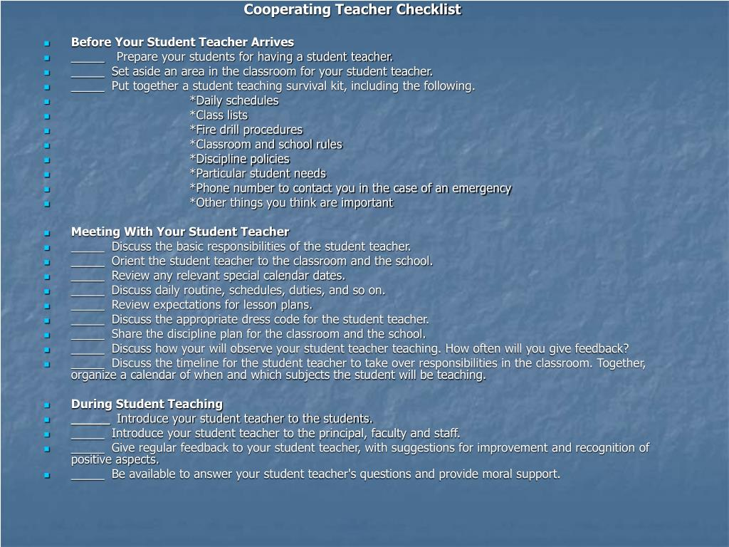 Cooperating Teacher Checklist