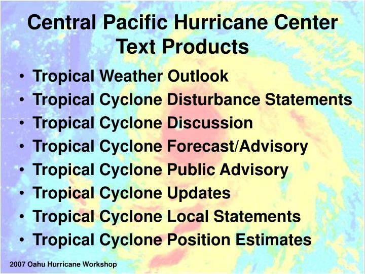 Central pacific hurricane center text products