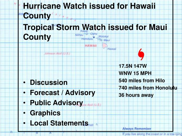 Hurricane Watch issued for Hawaii County