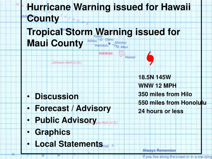 Hurricane Warning issued for Hawaii County