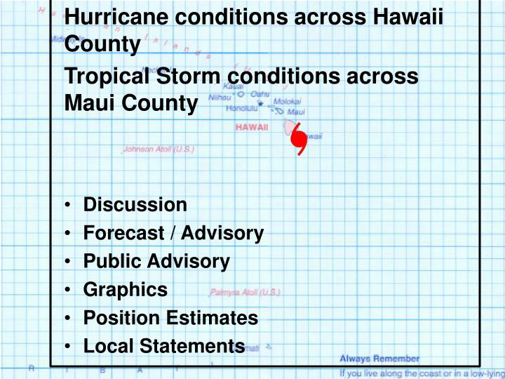 Hurricane conditions across Hawaii County