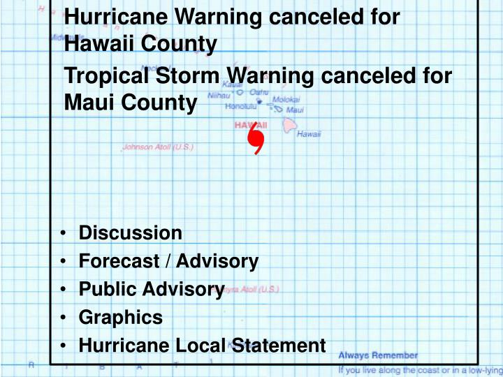 Hurricane Warning canceled for Hawaii County