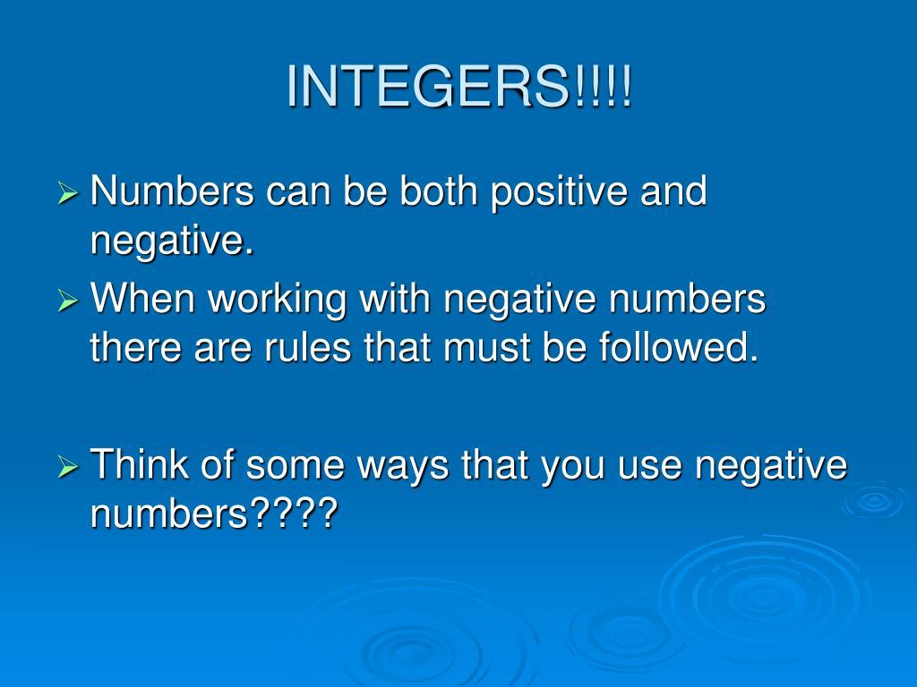 INTEGERS!!!!