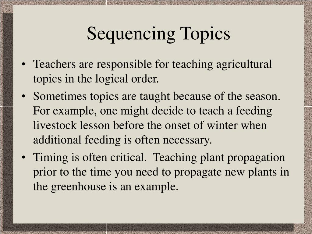 Sequencing Topics
