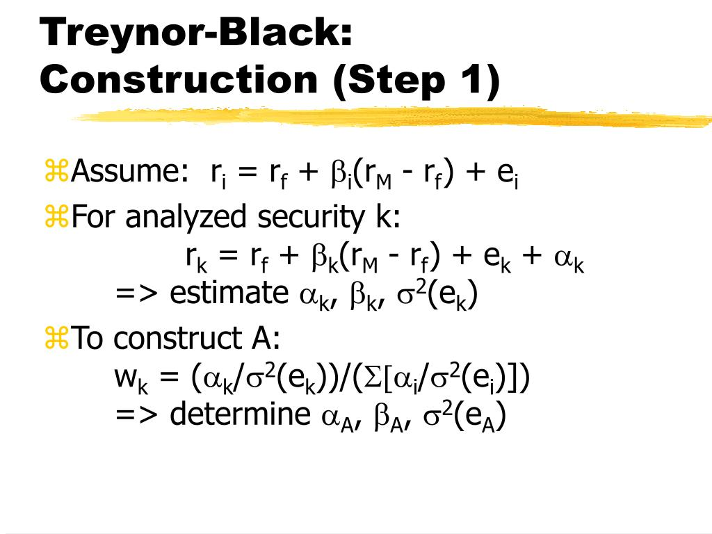 Treynor-Black: Construction (Step 1)