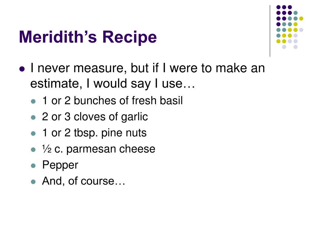 Meridith's Recipe