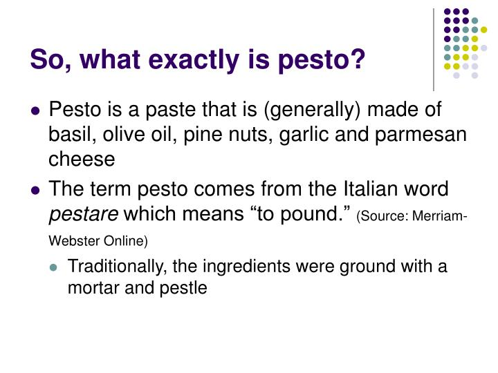 So what exactly is pesto
