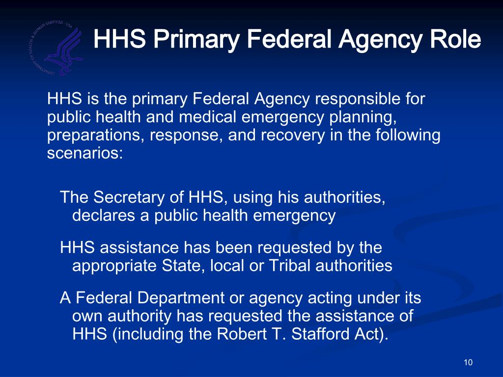 HHS Primary Federal Agency Role