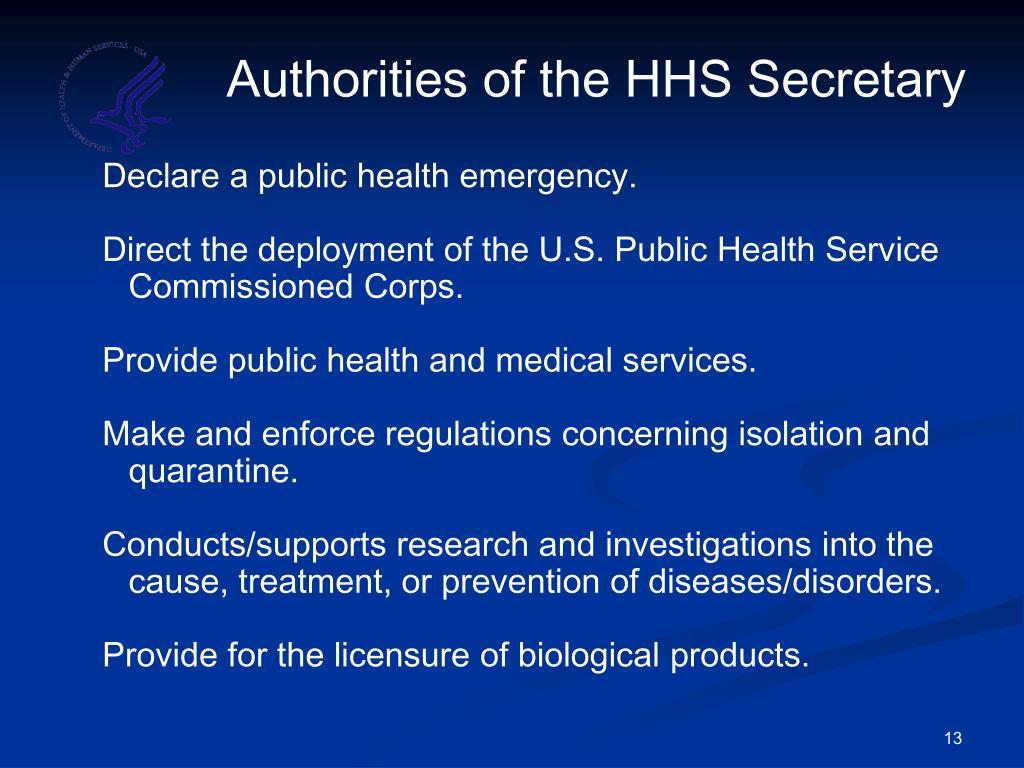 Authorities of the HHS Secretary