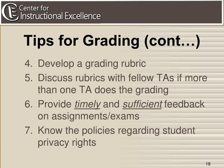 Tips for Grading (cont…)