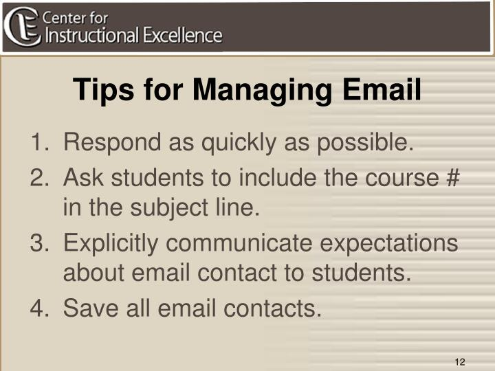 Tips for Managing Email