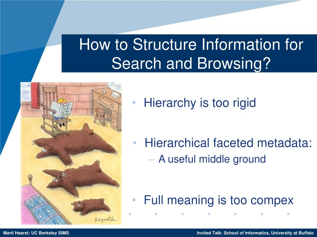 How to Structure Information for Search and Browsing?