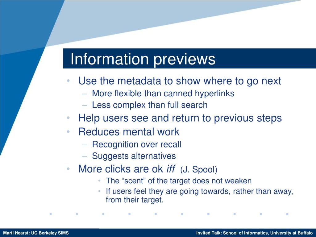 Information previews