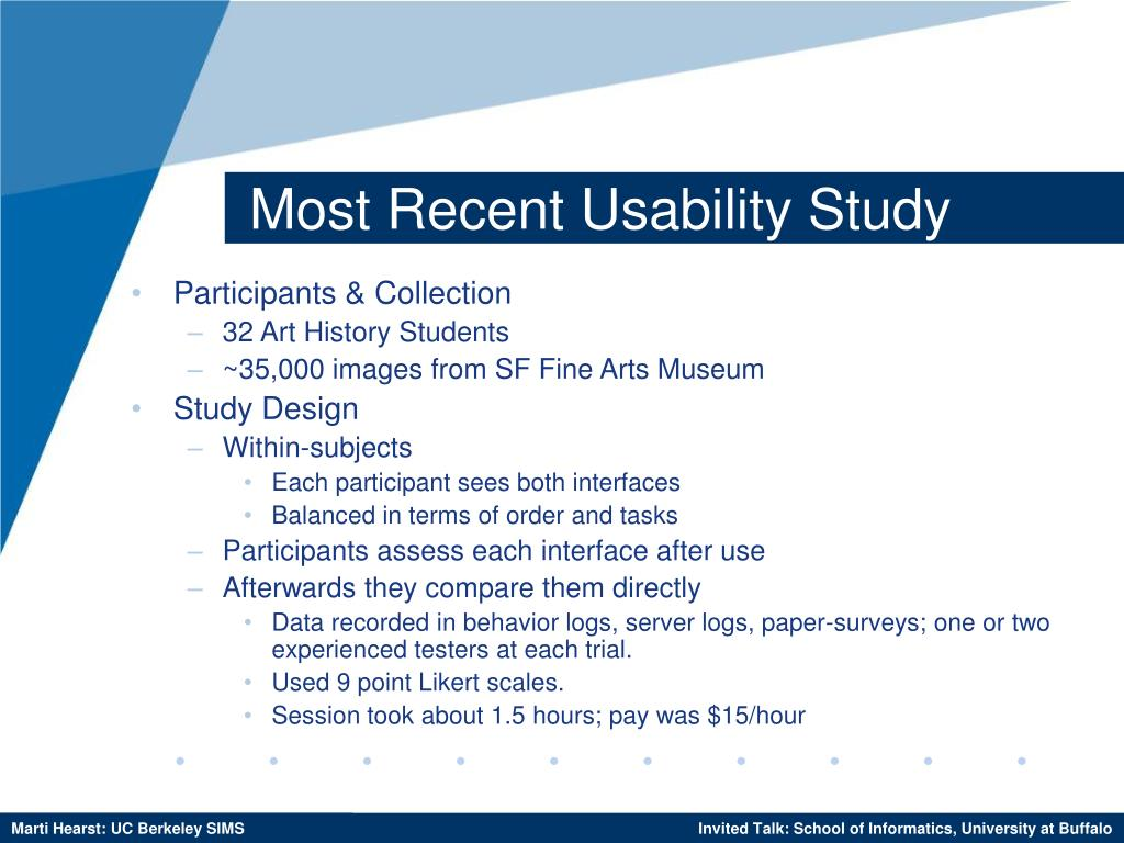 Most Recent Usability Study