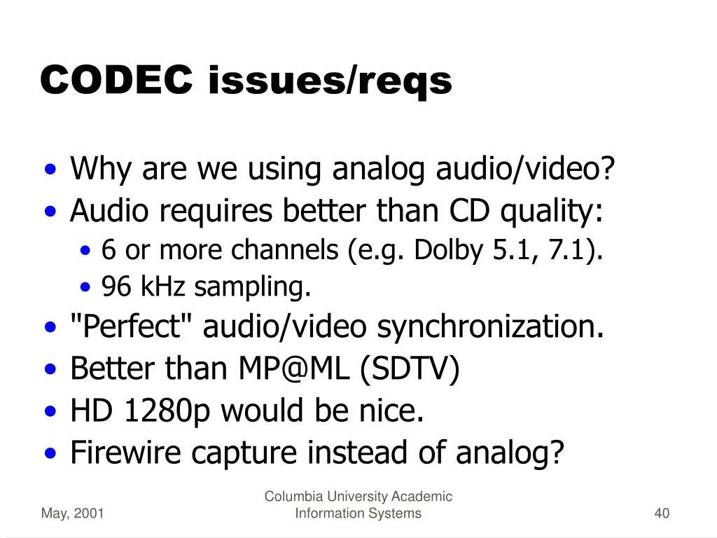 CODEC issues/reqs