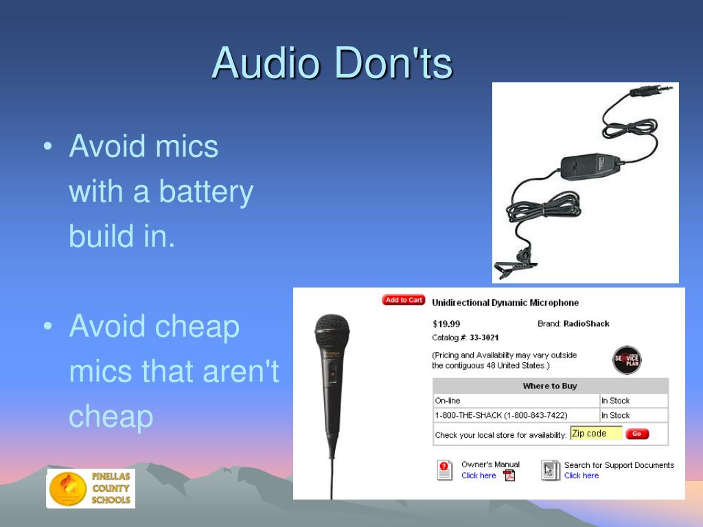 Audio Don'ts