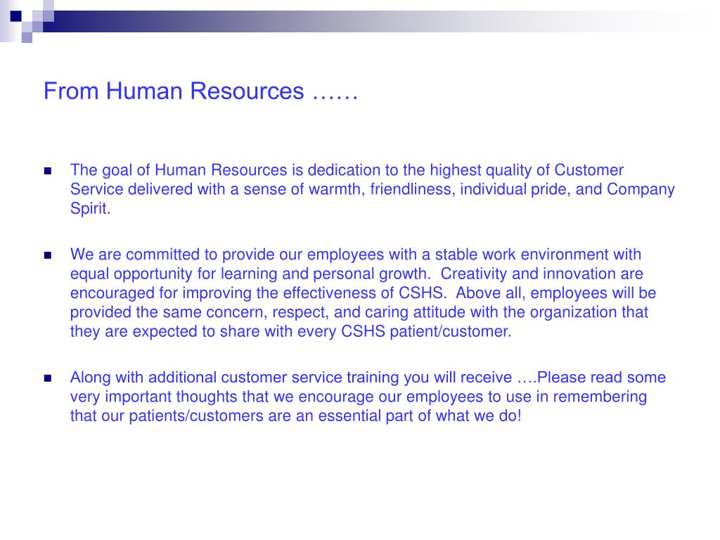 From Human Resources ……
