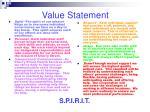 value statement