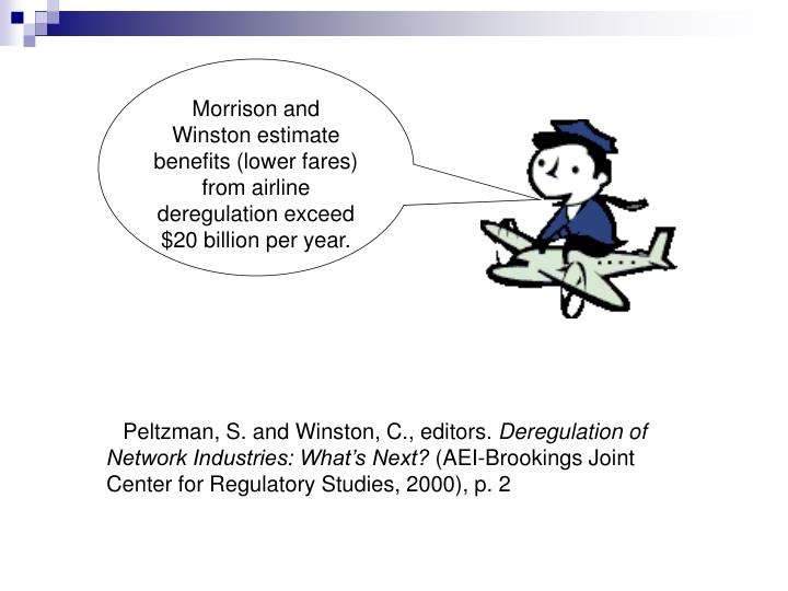 Morrison and Winston estimate benefits (lower fares) from airline deregulation exceed $20 billion per year.