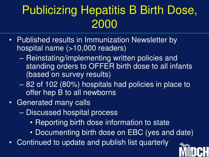 Publicizing Hepatitis B Birth Dose, 2000
