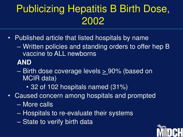 Publicizing Hepatitis B Birth Dose, 2002