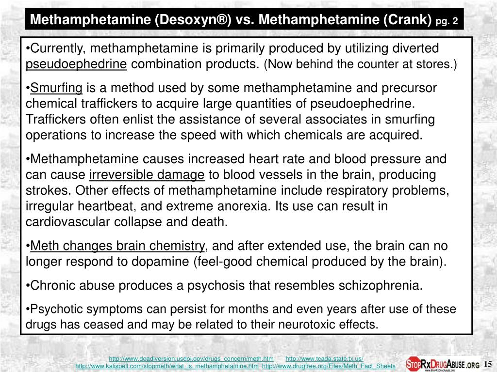 Methamphetamine (Desoxyn®) vs. Methamphetamine (Crank)