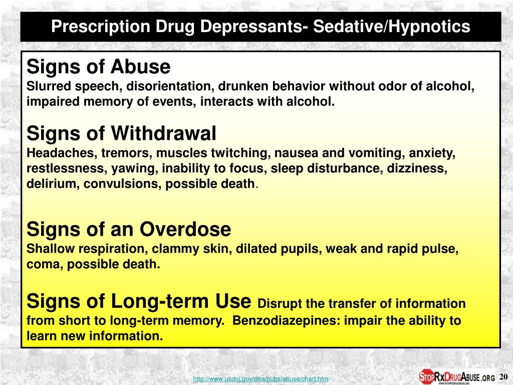Prescription Drug Depressants- Sedative/Hypnotics
