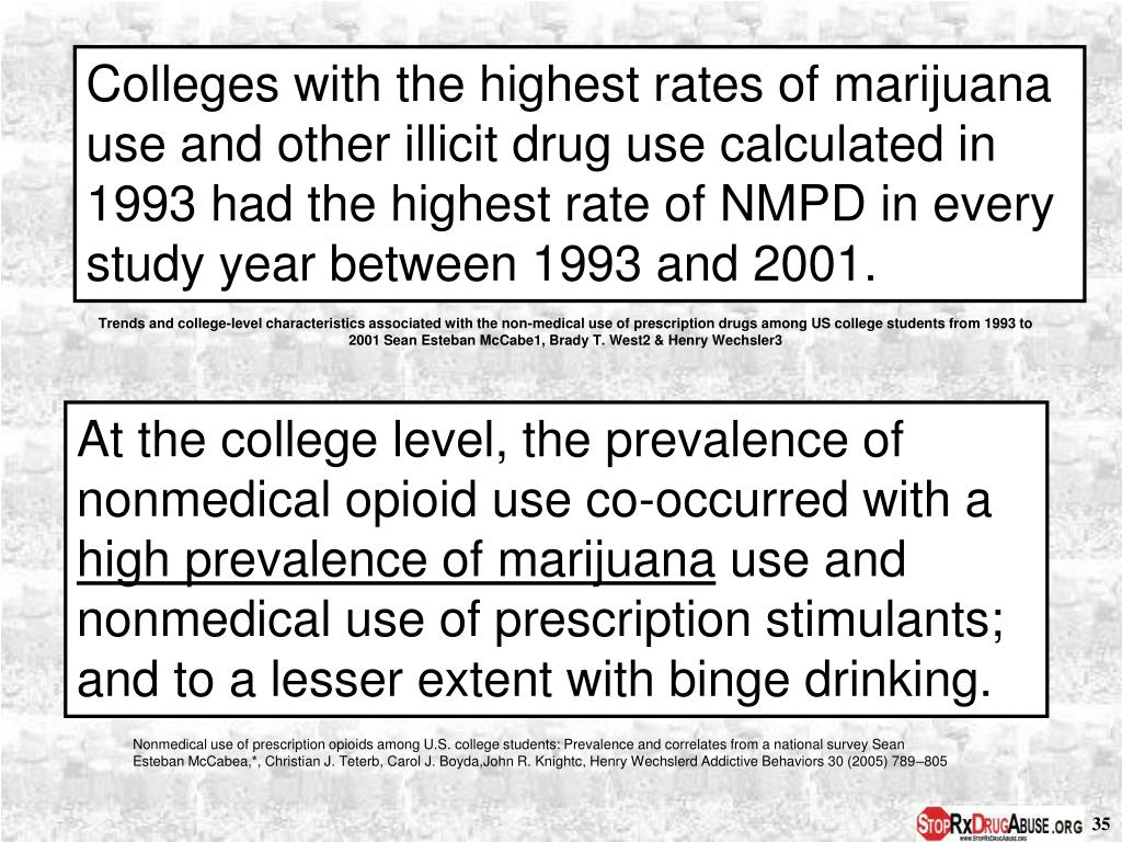Colleges with the highest rates of marijuana use and other illicit drug use calculated in 1993 had the highest rate of NMPD in every study year between 1993 and 2001.
