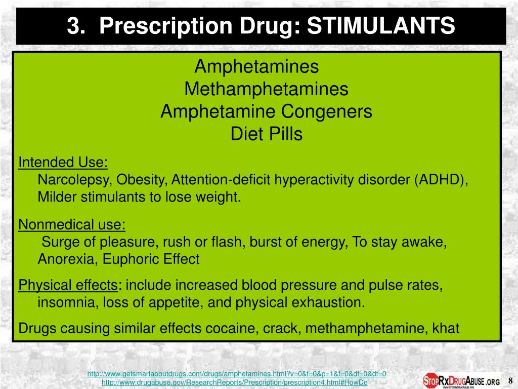 3.  Prescription Drug: STIMULANTS