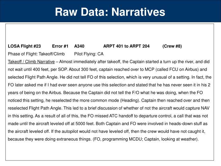 Raw Data: Narratives