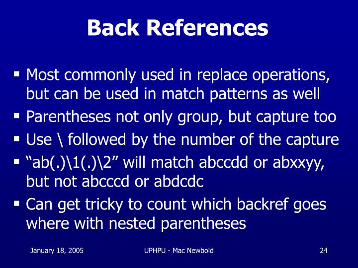 Back References