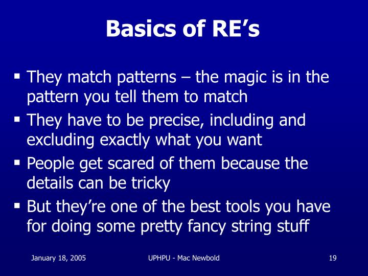 Basics of RE's