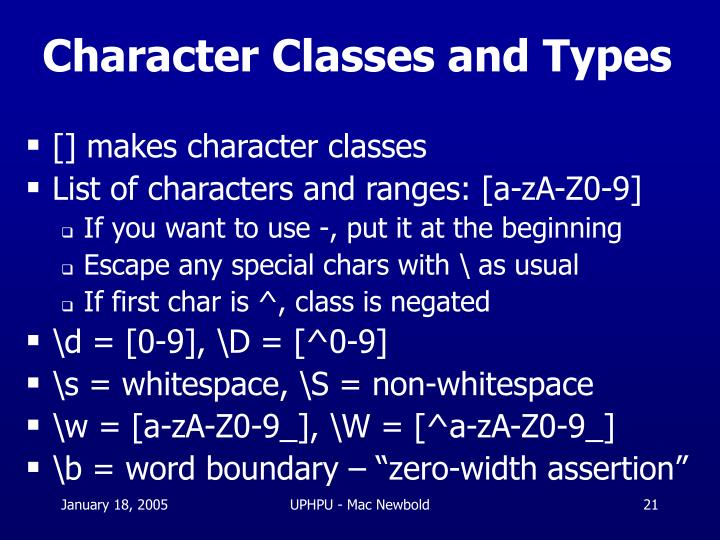 Character Classes and Types