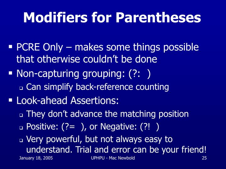 Modifiers for Parentheses