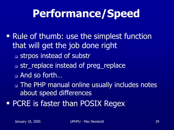 Performance/Speed