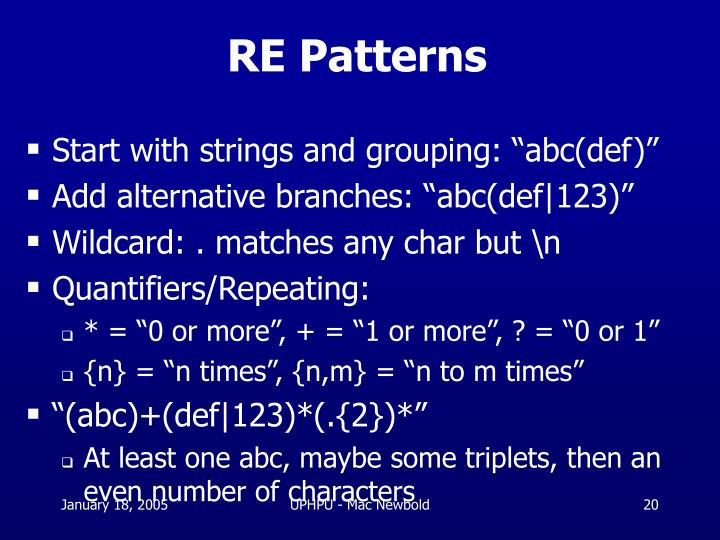 RE Patterns