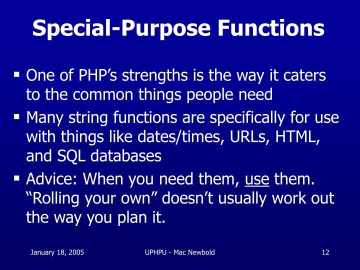 Special-Purpose Functions
