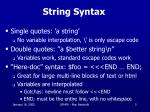 string syntax