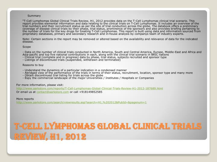 T cell lymphomas global clinical trials review h1 20122
