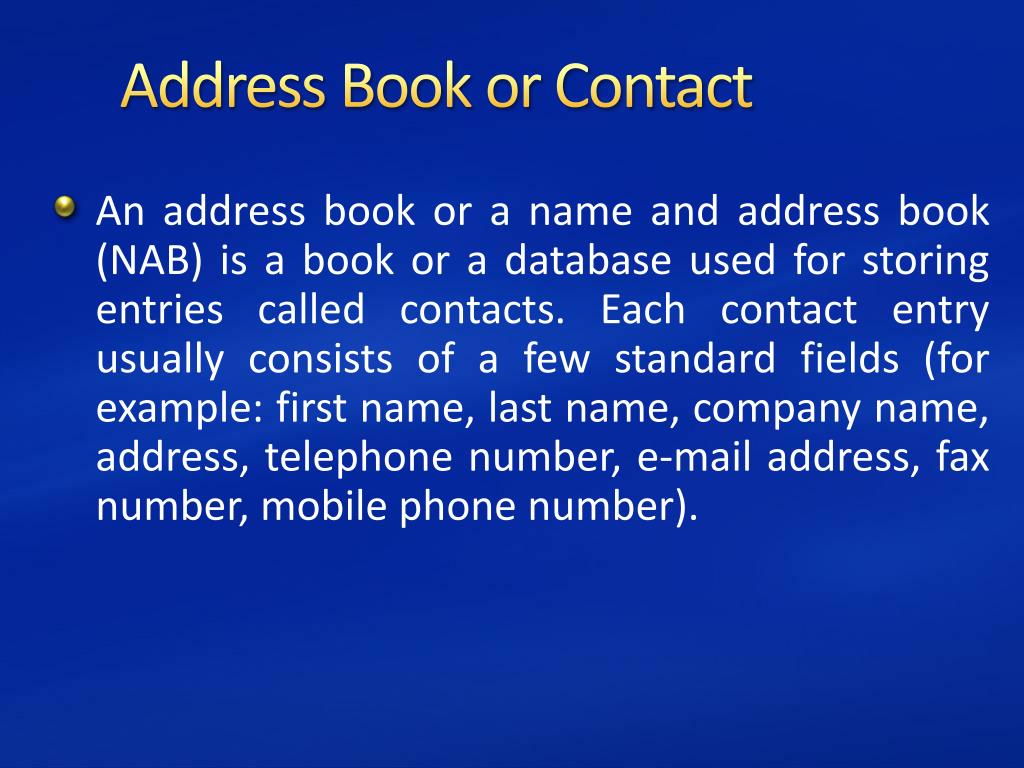 Address Book or Contact