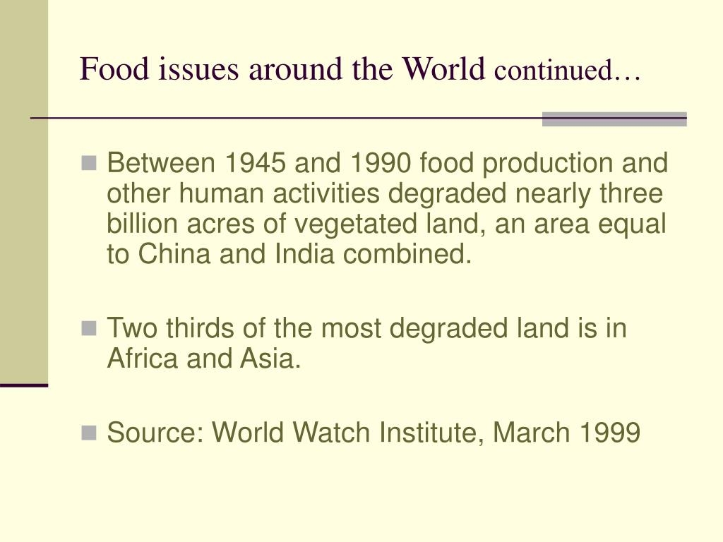 Food issues around the World