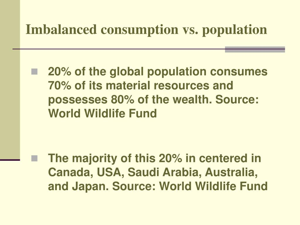 Imbalanced consumption vs. population