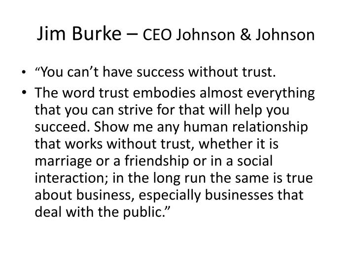 Jim burke ceo johnson johnson