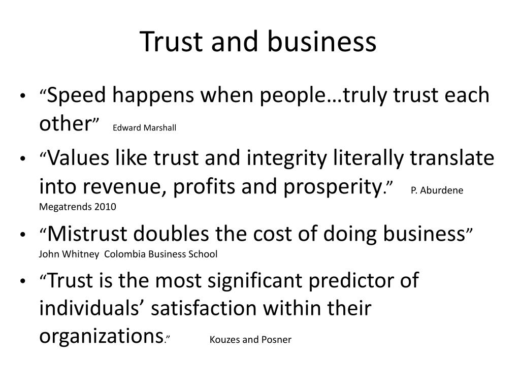 Trust and business
