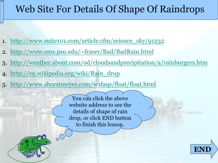 Web Site For Details Of Shape Of Raindrops