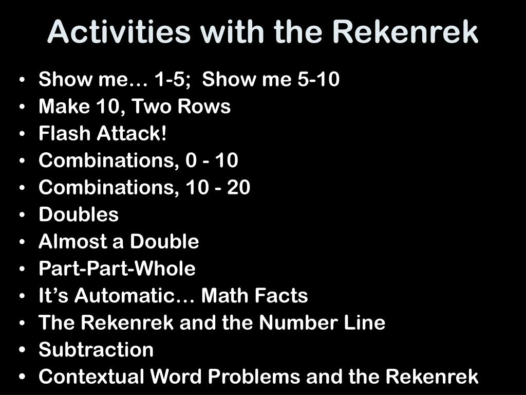 Activities with the Rekenrek