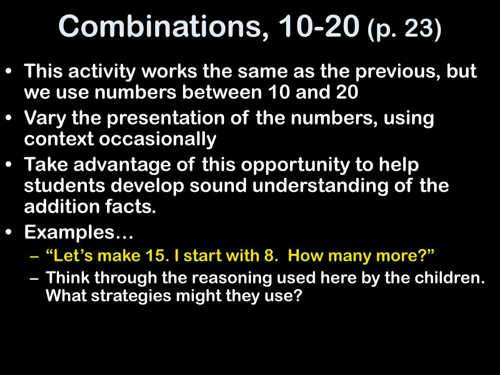 Combinations, 10-20